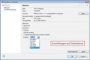 Encoding in eclipsePDT auf  Dateiebene