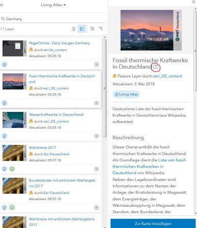 ArcGIS online Suche nach Germany mit Detailansicht