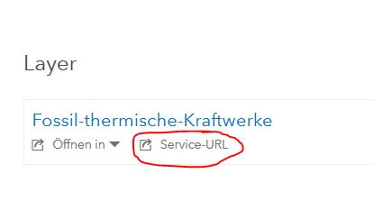Service URL zu Feature Layer in Gesamtansicht